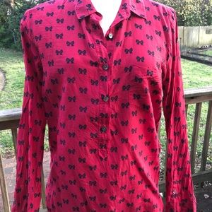 JCrew Red blouse with navy bows. Sz. 12